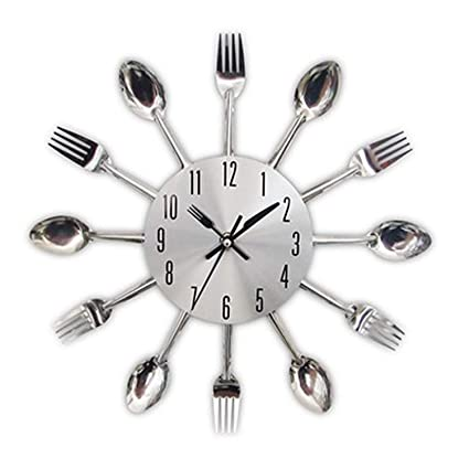 CHTOP Cutlery Metal Kitchen Wall Clock - Spoon Fork Creative Quartz Wall Mounted Clocks - Modern
