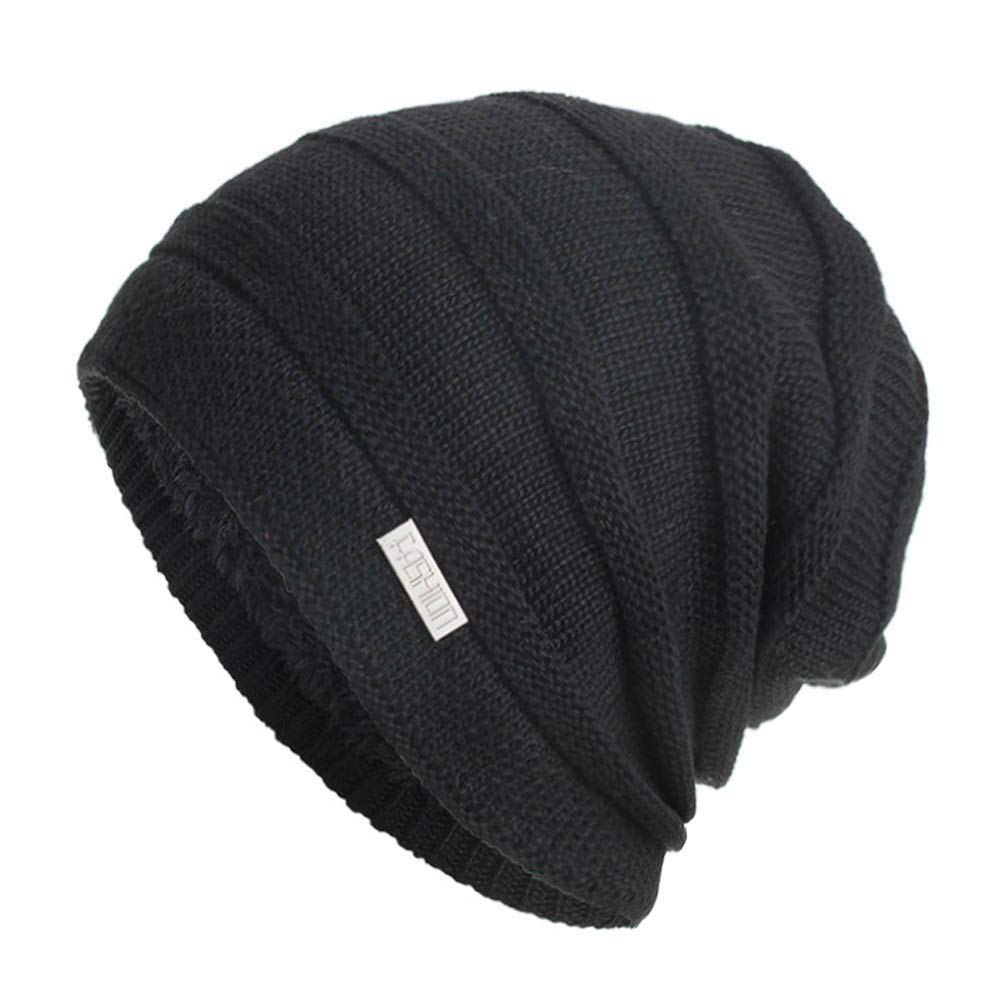 cbed4cebd7b Amazon.com  BSGSH Unisex Women Men Winter Warm Ski Knitted Crochet Baggy  Beanie Hat Cap Outdoor Sports Hat (Black)  Clothing