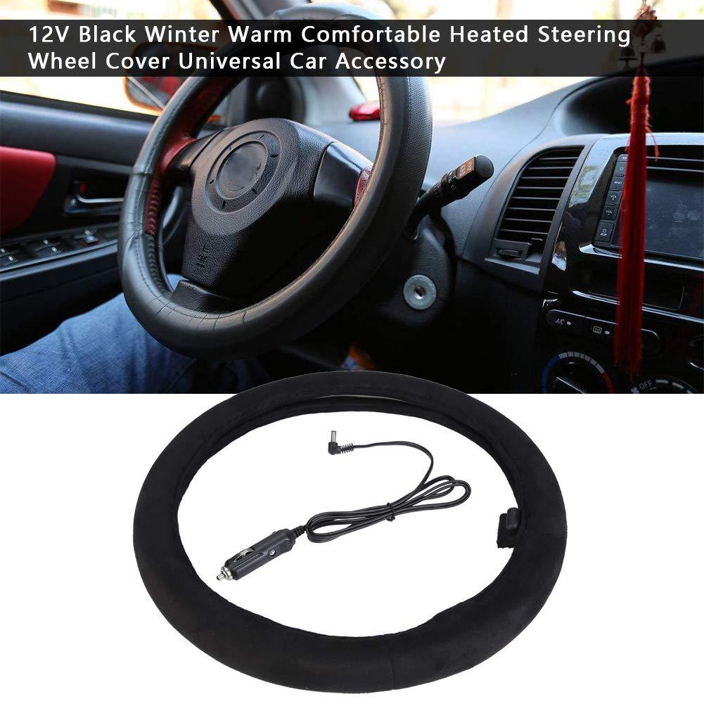 Akozon Housse de volant chauffante 12 V Noir Hiver Chaud Chauffage de volant Accessoire de voiture universel