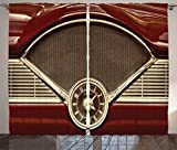dash board decor - Ambesonne 1950s Decor Collection, Clock on the Dashboard of a Maroon Classic Fifties Car Classical Automobile Close Up Image, Living Room Bedroom Curtain 2 Panels Set, 108 X 90 Inches, Burgundy