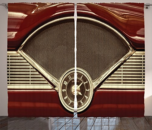Ambesonne 1950s Decor Collection, Clock on the Dashboard of a Maroon Classic Fifties Car Classical Automobile Close Up Image, Living Room Bedroom Curtain 2 Panels Set, 108 X 84 Inches, Burgundy (Luxurious Home Decor)