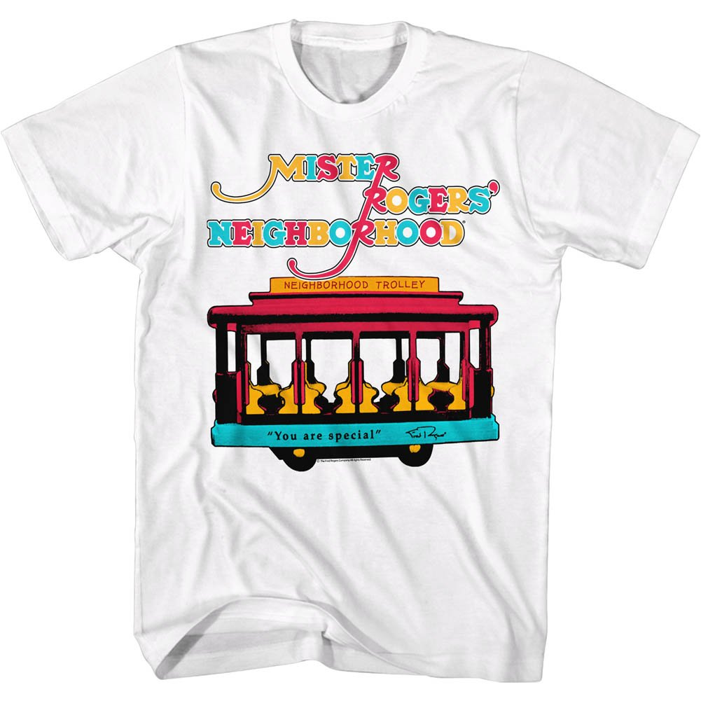 af54cf17396 Amazon.com  MISTER ROGERS American Classics Trolley - White - S Shirt   Clothing