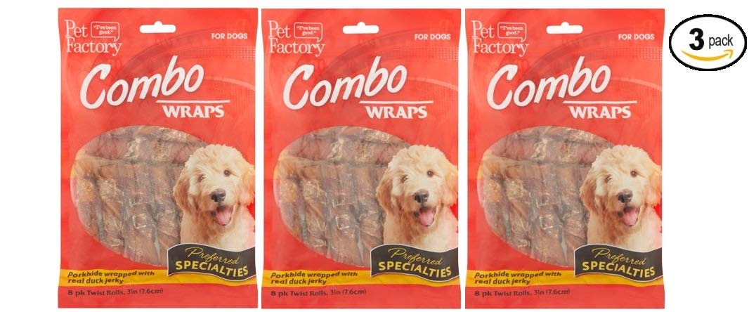 Pet Factory Combo Wraps Twist Rolls for Dogs, 8 count (88883) - Pack of 3
