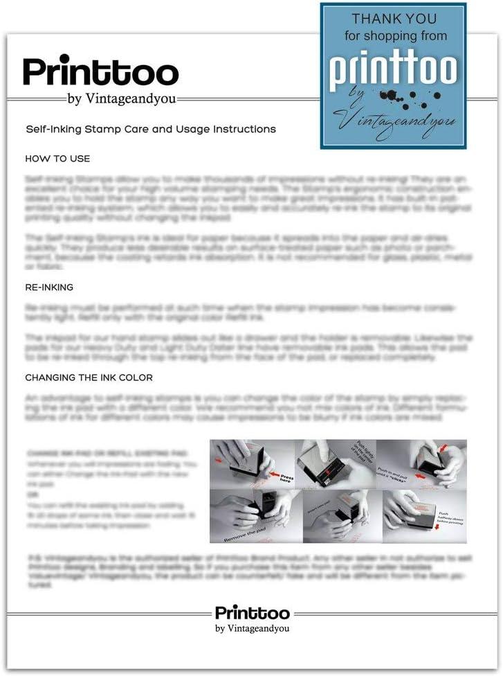 Printtoo Sello PAID Autoentintaje Goma Tinta Roja Uso De La Oficina De Sello Colop Stamper