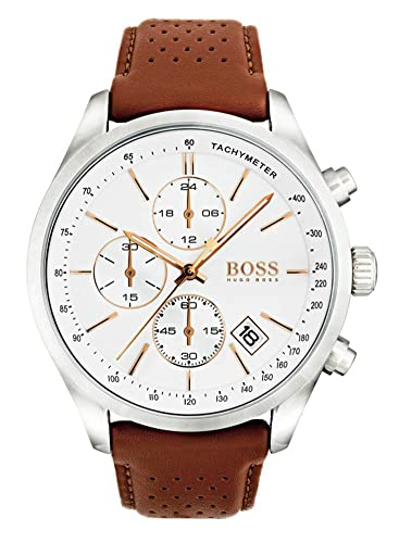 Hugo Boss Men s 46mm Brown Leather Band Steel Case Quartz White Dial Analog Watch 1513475