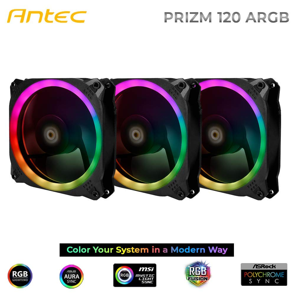Antec Prizm 120mm Addressable RGB Case Fan Radiator - 3 Pack and 2 RGB Strips by Antec (Image #2)