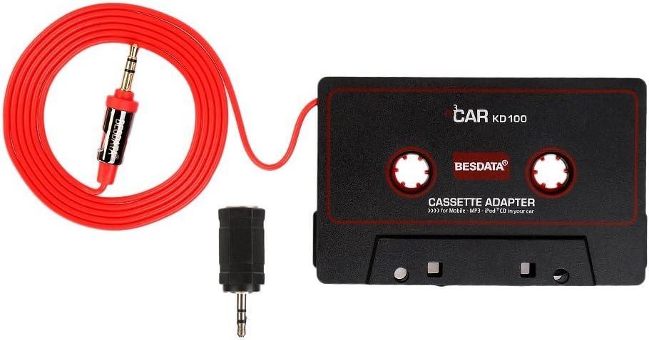 BESDATA Adaptador de Cassette para Coche para iPod, iPad, iPhone, MP3, Dispositivos Móviles, Cable 3 Pies de Largo 3.5mm Macho y 2.5mm Adaptador Macho, Negro - KD100