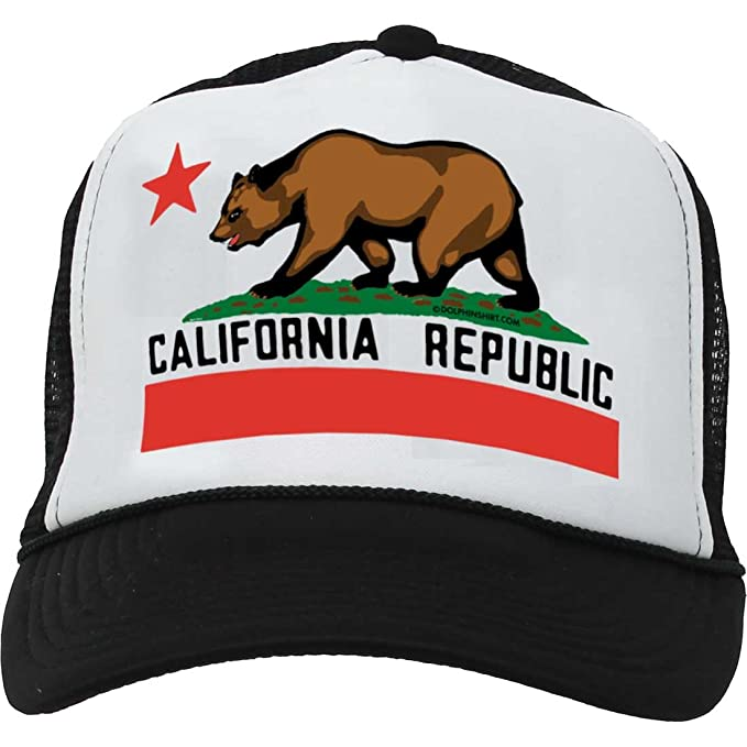 490f3412b5b0fd Dolphin Shirt Co California State Flag Snapback Mesh Truckers Cap Baseball  Hat - Black/White