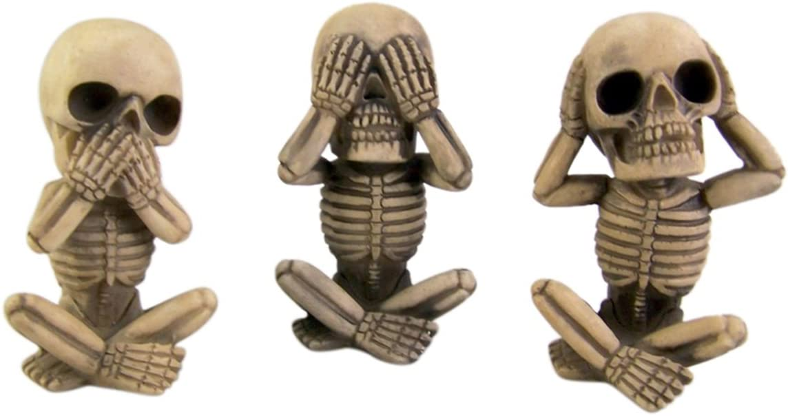 Skeleton Set Hear See Speak No Evil, Set of 3