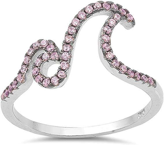.925 Sterling Silver Classic Pink CZ Religious Cross Fashion Ring NEW Size 4-10
