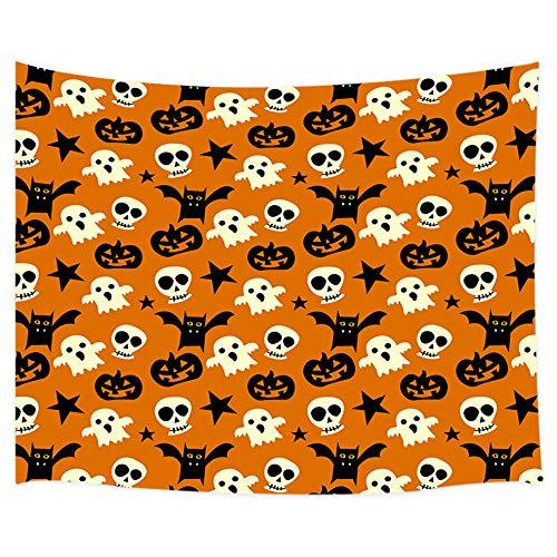 Halloween Tapestry, Skull Pumpkin Stars and Elf On Orange Wallpaper Tapestry Wall Hanging, Tapestry Wall Blankets for Bedroom Living Room Dorm Ceiling 80X60 -