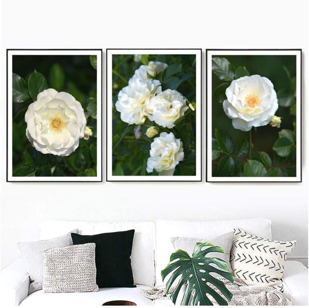 Cuadros de pared Flor de camelia blanca Hoja verde Paisaje Arte de la pared Lienzo Pintura Carteles Decoración de la sala 40x60cm Sin marco blanco