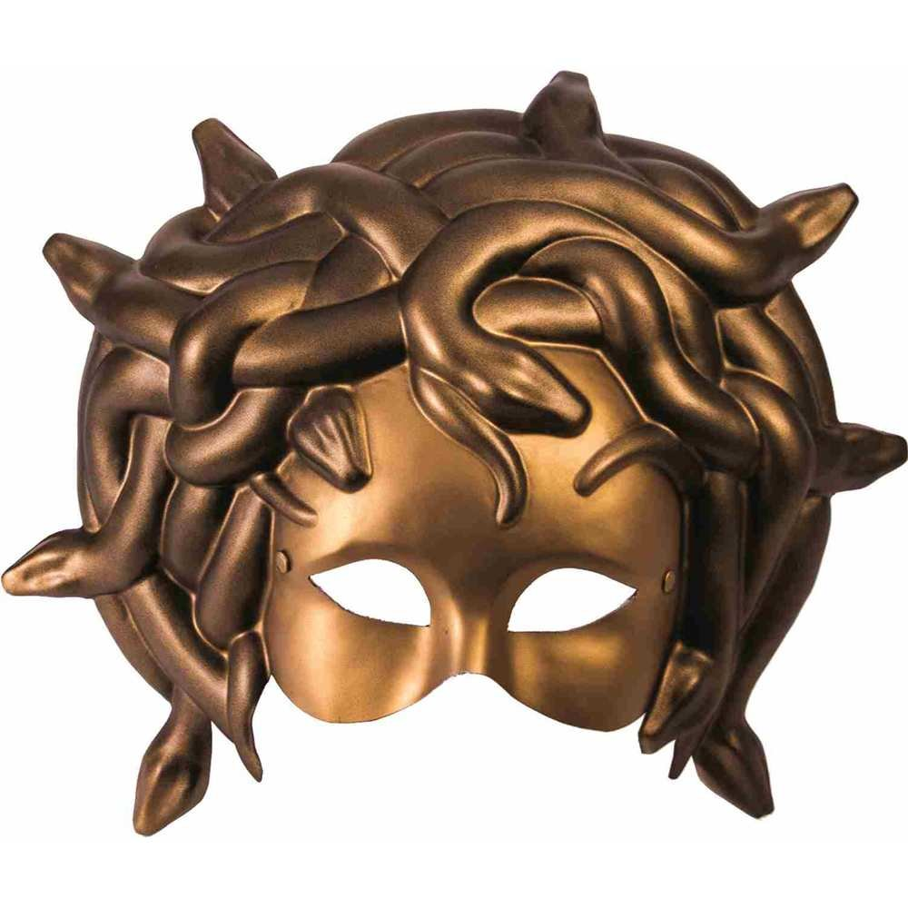 Forum Novelties Unisex-Adults Mask-Medusa W/Elastic, Gold, Standard 73395
