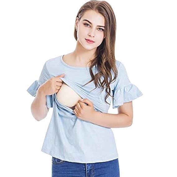 QinMM Camiseta Mujer Lactancia Maternidad de Doble Capa, premamá Blusa Manga de la Colmena Embarazada