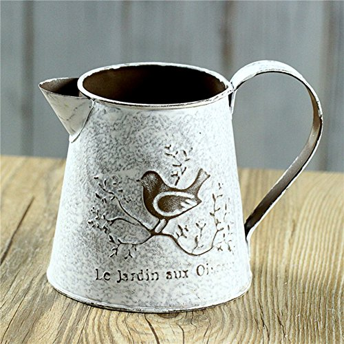 APSOONSELL French Style Rustic Shabby Chic Mini Metal Pitcher Vase Primitive Jug Vase Decorative