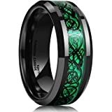 King Will Men's 8mm Green Carbon Fiber Black Celtic Dragon Tungsten Carbide Ring Comfort Fit Wedding Band