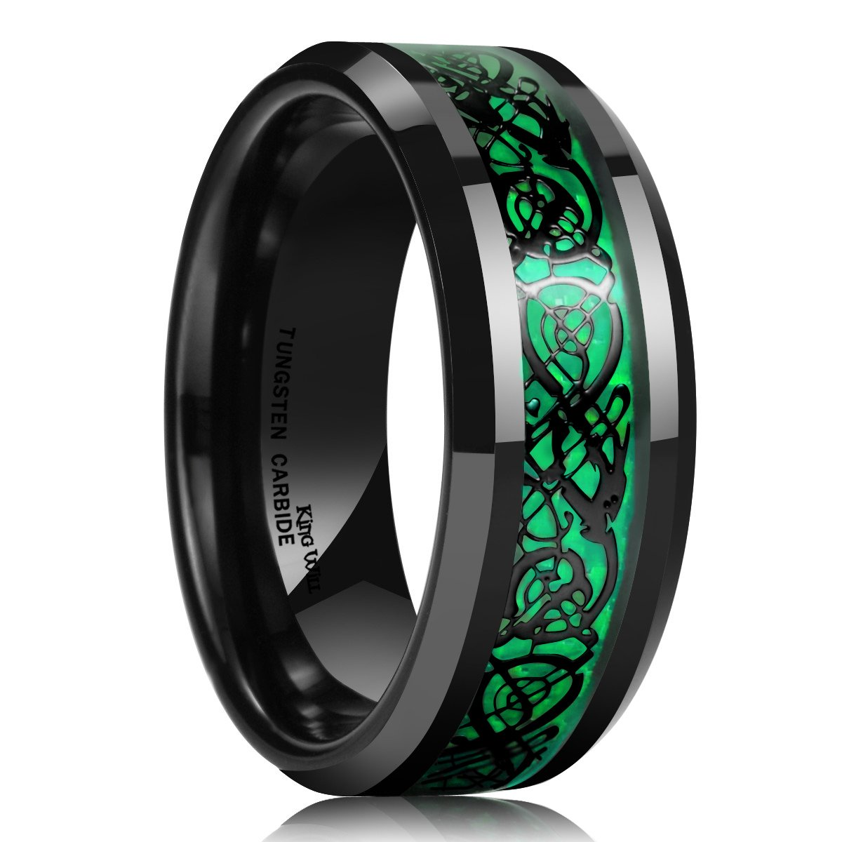 King Will DRAGON 8mm Green Carbon Fiber Black Celtic Tungsten Carbide Ring Comfort Fit Wedding Band OY-R115