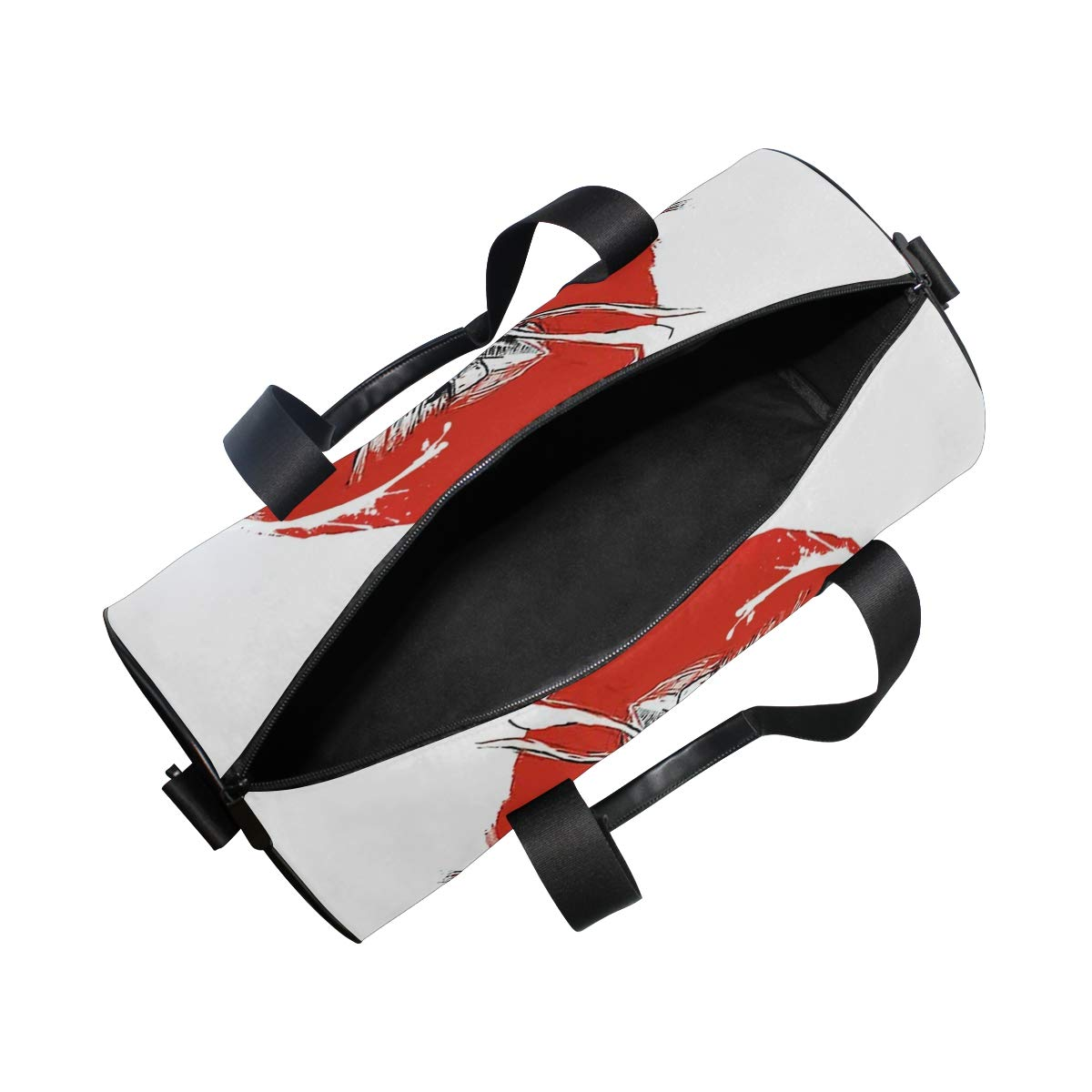 Gym Bag with Asian Japanese Samurai Soldier Print Travel Weekender Duffel Bag for Man and Woman