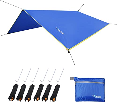 LLY Lightweight Hammock Sun Rain Tarp Shelter Shade Tent Tarp with Stakes and Ropes for Camping Backpacking Fishing