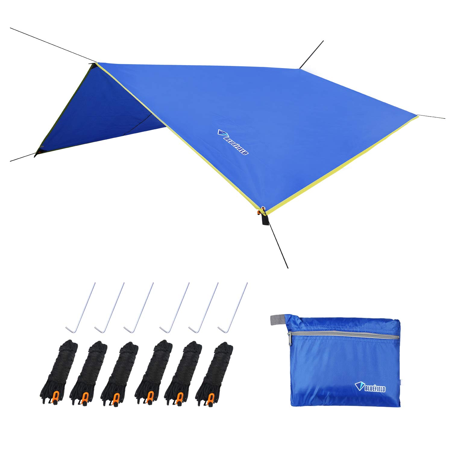 LLY Camping Tarp, Waterproof Picnic Mat, 4 in1 Multifunctional Tent Footprint for Camping, Hiking Survival Gear, Lightweight and Compact(71'' x 86'' Blue) by LLY
