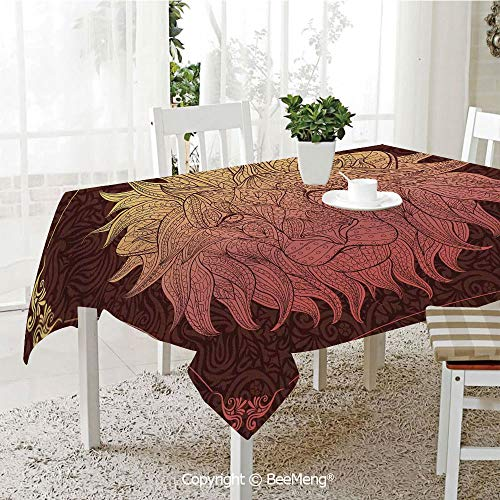 BeeMeng Large dustproof Waterproof Tablecloth,Family Table Decoration,Safari Decor,Patterned Ornate Lion Head with Digital Featuring Totem Asian Zoo Wild Boho Home Decor,Yellow Maroon,70 x 104 inches
