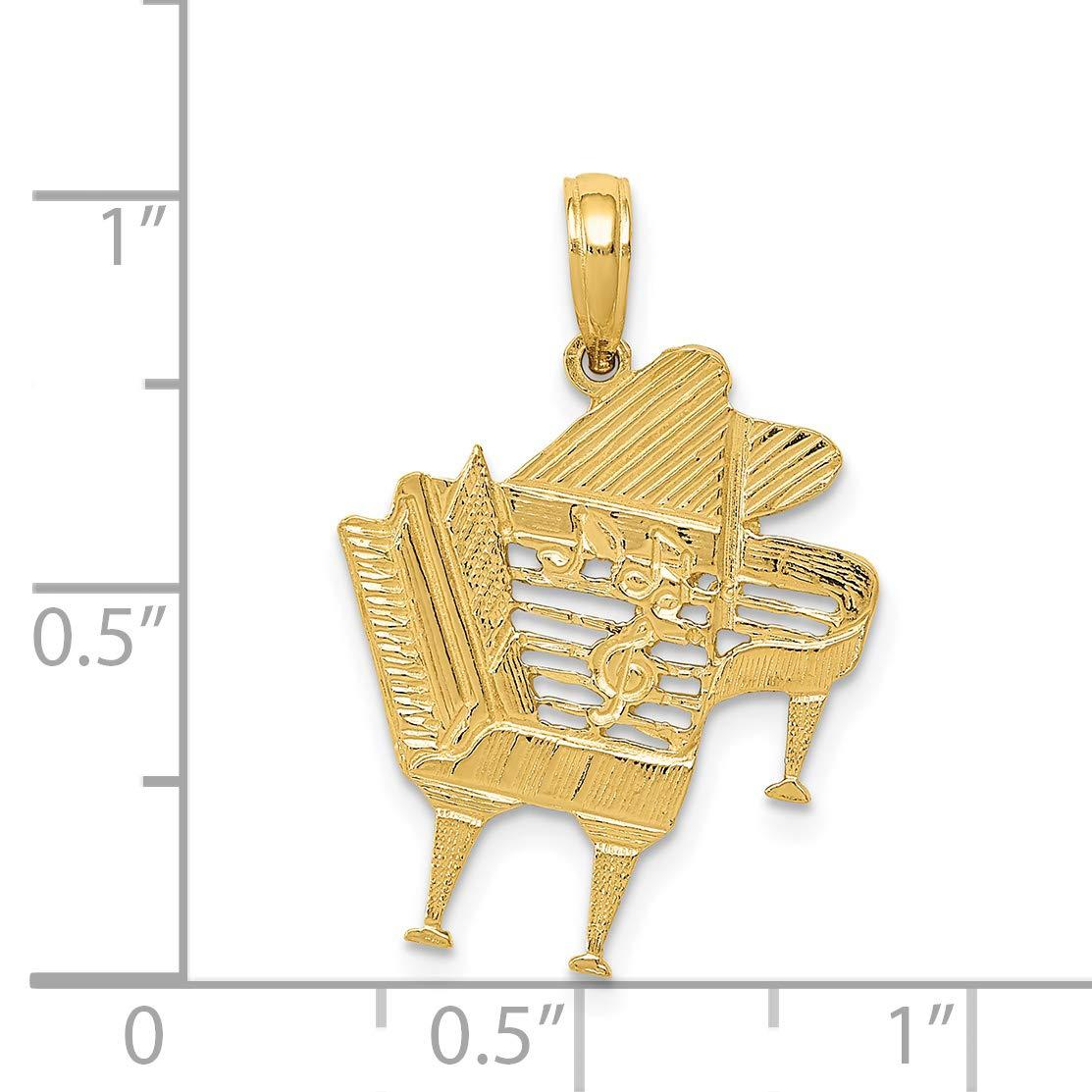 K/&C 14k Yellow Gold Piano Pendant