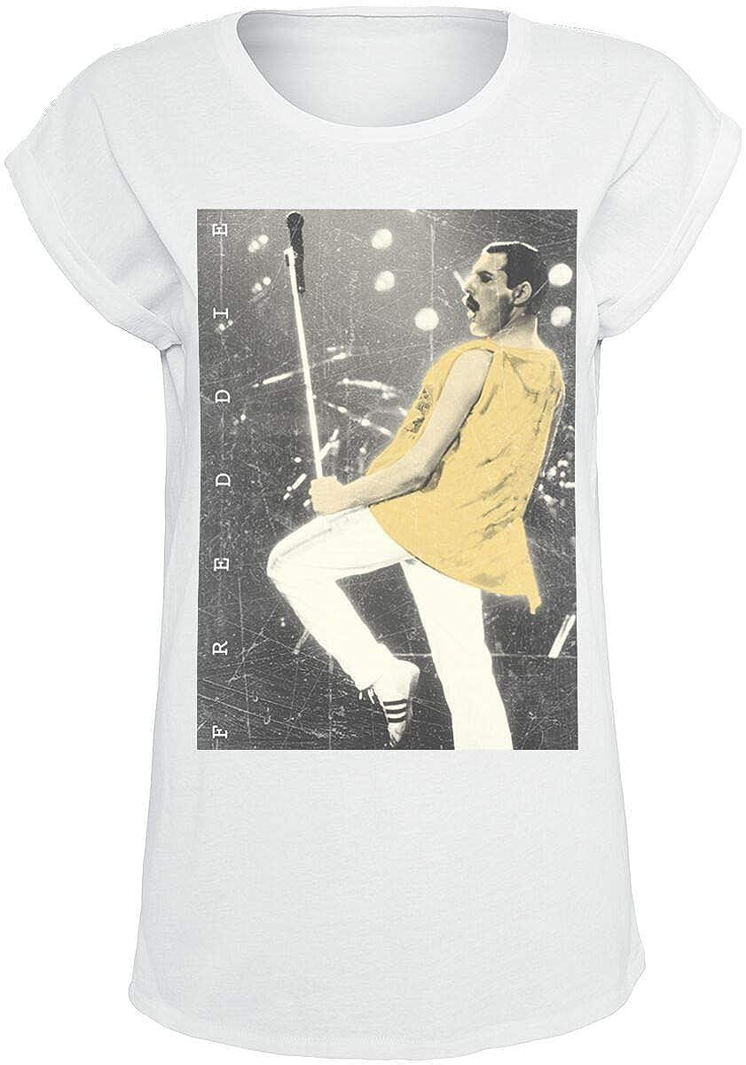 TALLA L. Queen Freddie - Stage Photo II Camiseta Blanco