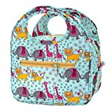 iSuperb Lovely Lunch Bag Box Tote Waterproof Cooler Bag Reusable with Adorable Animal Image Insulated Lunch Bags for Women Ladies Girls Children Kids Student Teenagers(African Animals Blue)