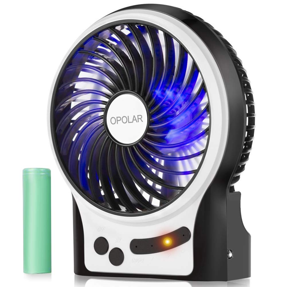 OPOLAR Battery Operated USB Rechargeable Fan, Portable Personal Handheld Fan, 3-13 Running Time, 3 Speeds, Enhanced Wind with Internal and Side Light, Quiet Desk Fan for Boating,Travel,Camping,-4 inch by OPOLAR
