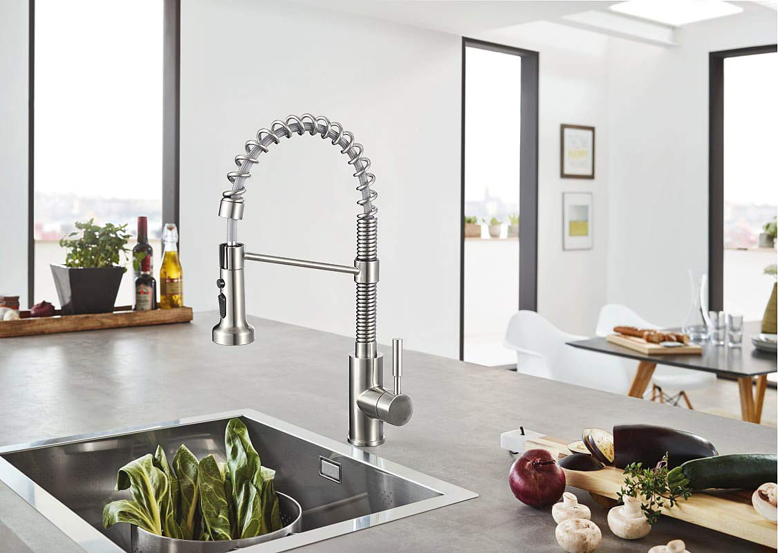 IMLEZON Stainless Steel Kitchen Faucet with Pull Out Spray Head, Single Handle Pull Down Commercial Kitchen Faucet Brushed Finished with Triple Function (18 inch) by IMLEZON (Image #2)