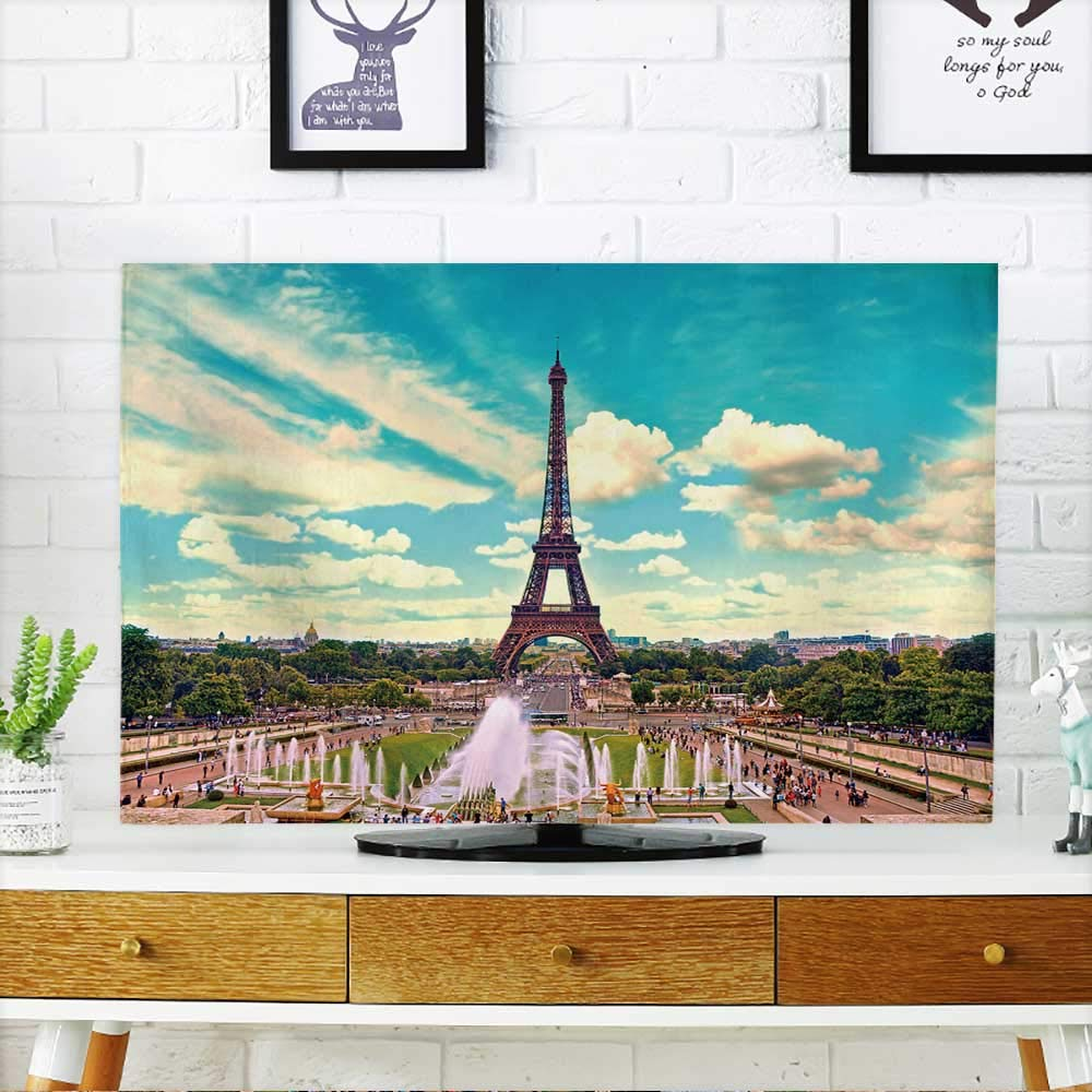 PRUNUS Protect Your TV Eiffel Tower and Fountain at Jardins du Trocadero,Paris,France Travel Background Protect Your TV W19 x H30 INCH/TV 32''