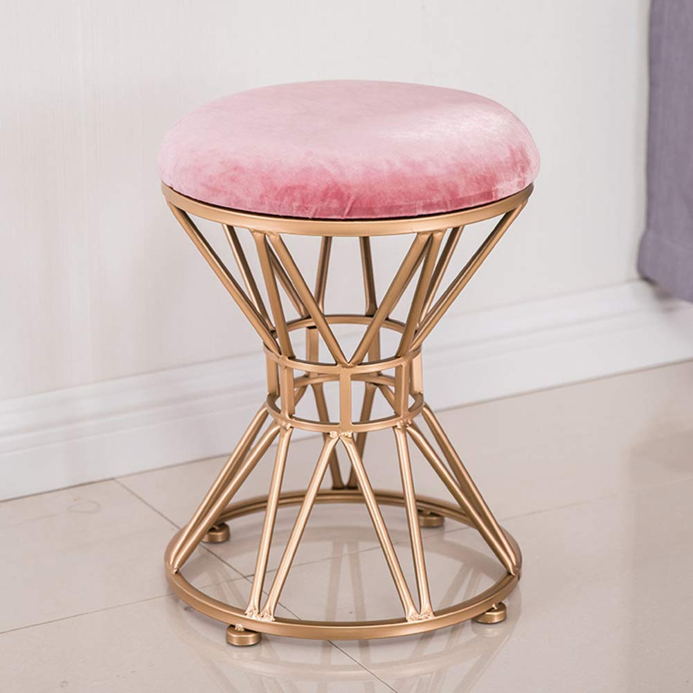 C 34x45cm(13x18inch) Round Metal Stool,Flannel Fabric Make up Stool,Modern upholstered Footstool for Home-A 34x45cm(13x18inch)