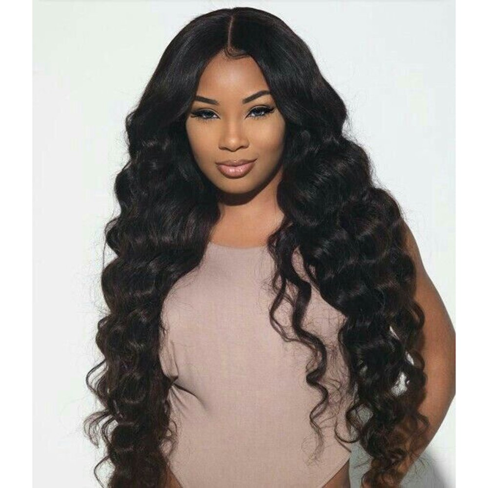 Body Wave Lace Front Human Hair Wigs-Glueless Brazilian Virgin Wigs with Baby Hair for Black Woman 130% Density 1b color (16 inch)
