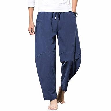 Tt Léger Pantalon Lin Large Jogging Mélange Coupe homme Élastique Homme En Coton Global Confortable Décontracté Taille c54Aq3jRL