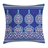 Ambesonne Moroccan Throw Pillow Cushion Cover, Bohemian Style Old Middle Eastern Turkish Figures Mystical Ornamental Image Print, Decorative Square Accent Pillow Case, 24X24 Inches, Teal Royal Blue