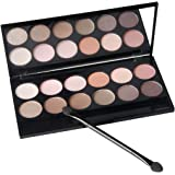 Eyeshadow Palette - Matte + Shimmer Makeup Set Highly Pigment Cosmetic Waterproof Nude Eye Shadow Palettes with Brush and Mirror 12 Earth Colors