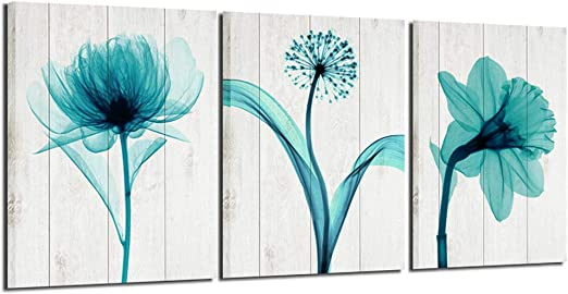 SUMGAR Blue Flowers Wall Art for Living Room Abstract Paintings on Canvas Framed Modern Home Decorations Ready to Hang 12x16x3pcs