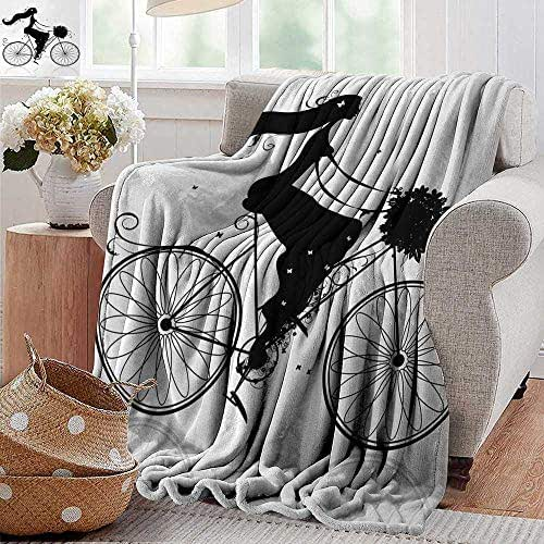 XavieraDoherty Beach Blanket,Black and White,Young Woman Silhouette with a Bouquet of Spring Flowers Cycling Bridal,Black and White,300GSM, Super Soft and Warm, Durable 60