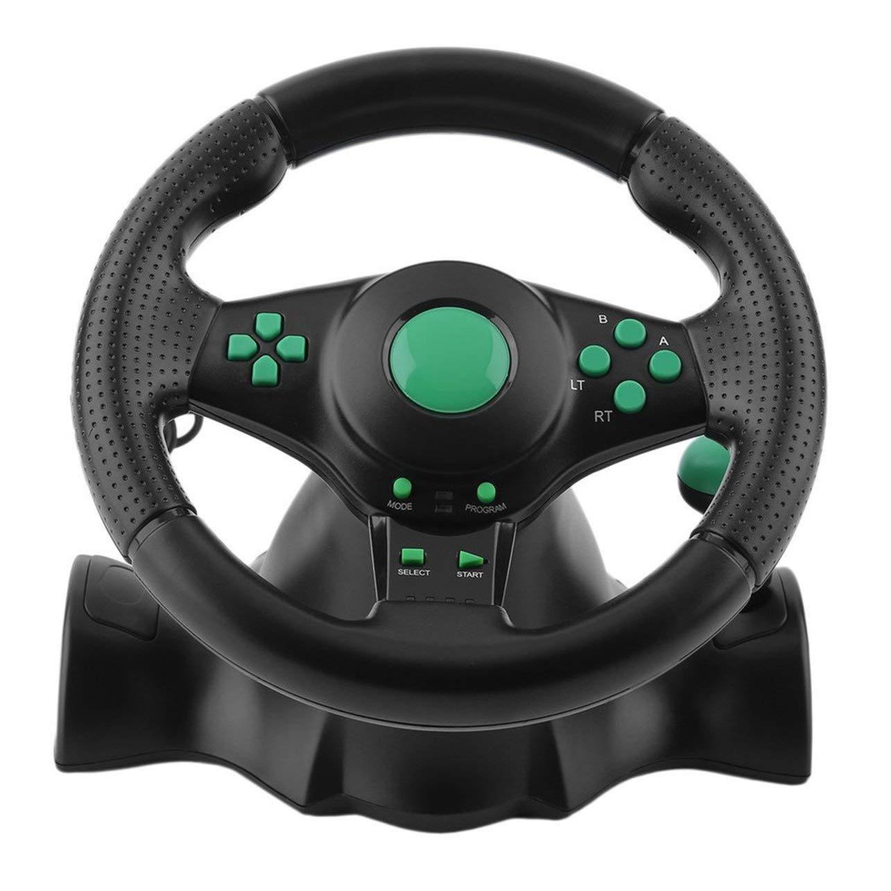 WOSOSYEYO 180 Grados de rotación del Volante ABS Gaming vibración Que compite con los Pedales