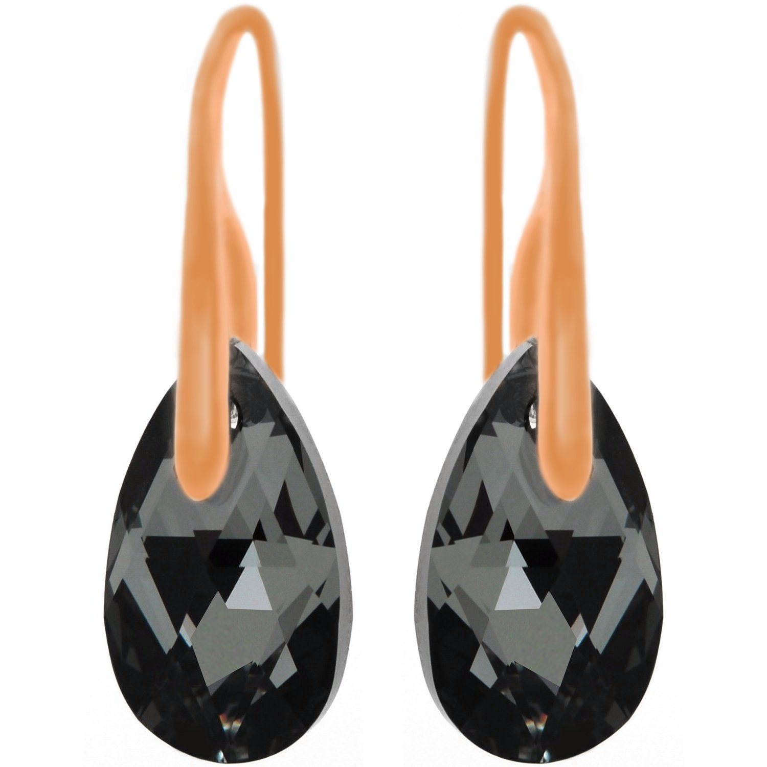 Royal Crystals 18CT Rose Gold Plated Sterling Silver Black Grey Teardrop Hook Pierced Earrings with Swarovski Crystals