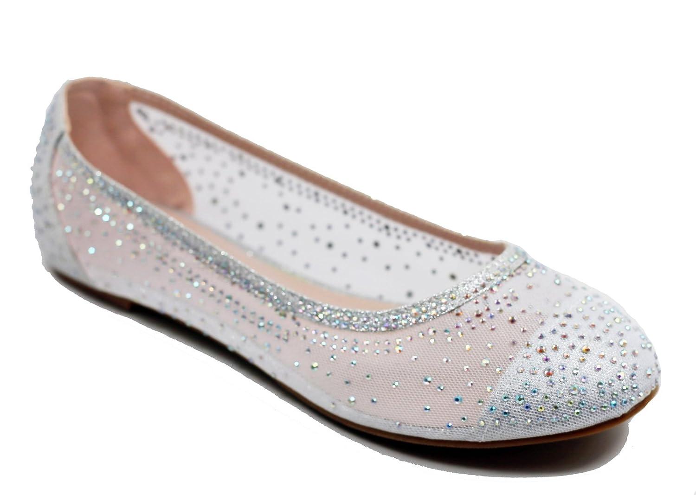 Walstar Women's Shoe Mesh Glitter Comfort Ballet Flat B07DK22CZ5 8.5 B(M) US|Silver