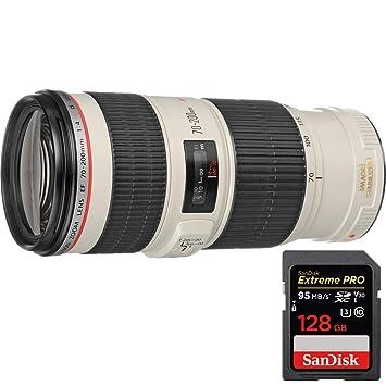 Canon (1258B002) EF 70-200 mm f/4L IS USM Lente + Sandisk ...