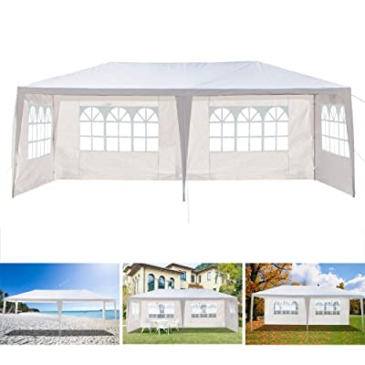 10'x20' White Party Wedding Tent Outdoor Waterproof Canopy Tent BBQ Shelter Patio Garden Event Tent Gazebo Pavilion with 4-Sidewall : Garden & Outdoor