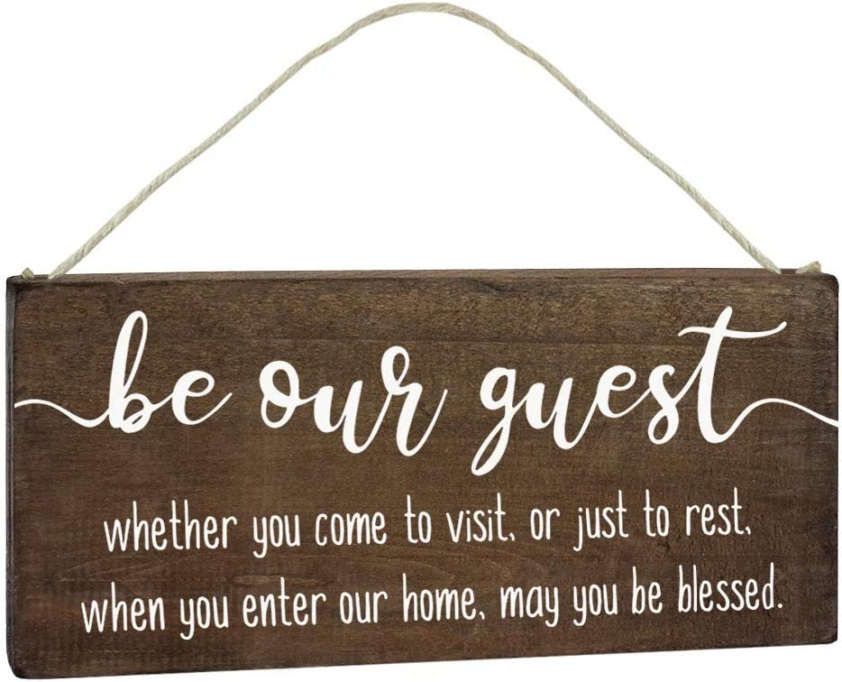 Be Our Guest Sign - Guest Room Decor - Bedroom Door Decoration 5.5x12 Hanging Blessed Wall Art