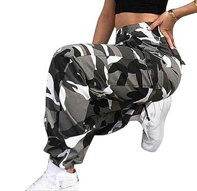 0ec93d09272763 LD Womens Casual Multi Pockets Loose Cargo Camo Jogger Pants Trousers Green  XS