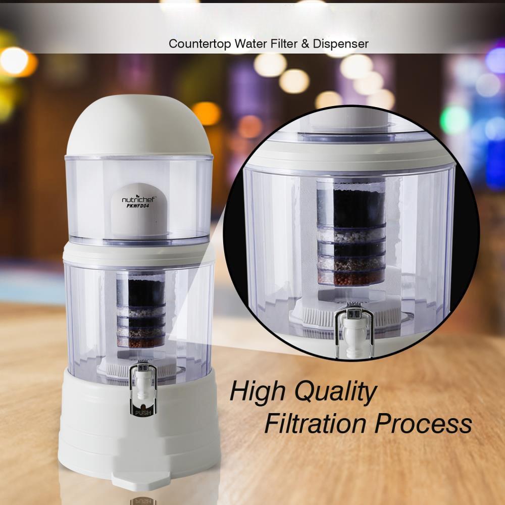 NutriChef - Dispensador de filtro de agua de encimera, 4 galones, sin BPA, alcalinizante, depósito de filtración de agua de 5 etapas con espiga de verano, ...