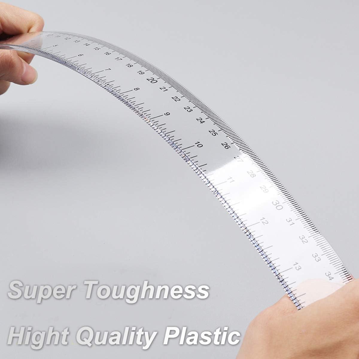 Righelli da 19 pollici da 50 cm Righello pollici e centimetri in plastica dura trasparente confezione da 20 pezzi // 1 mm Strumenti di misura per lhome office scolastico scala minima 1//16 in