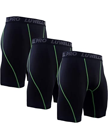 51c8e16c82102 LUWELL PRO 3 Pack Compression Shorts Mens Quick Dry Running Shorts Base  Layers Men for Training