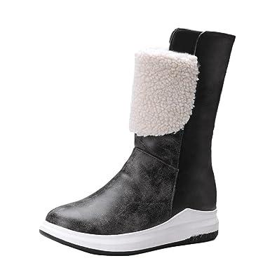 Yiiquan Damen Winter Stiefel Kurz Flache Schneeschuhe Warme mit Dicken Gefüttert Schuhe (Licht Braun, 34 EU)