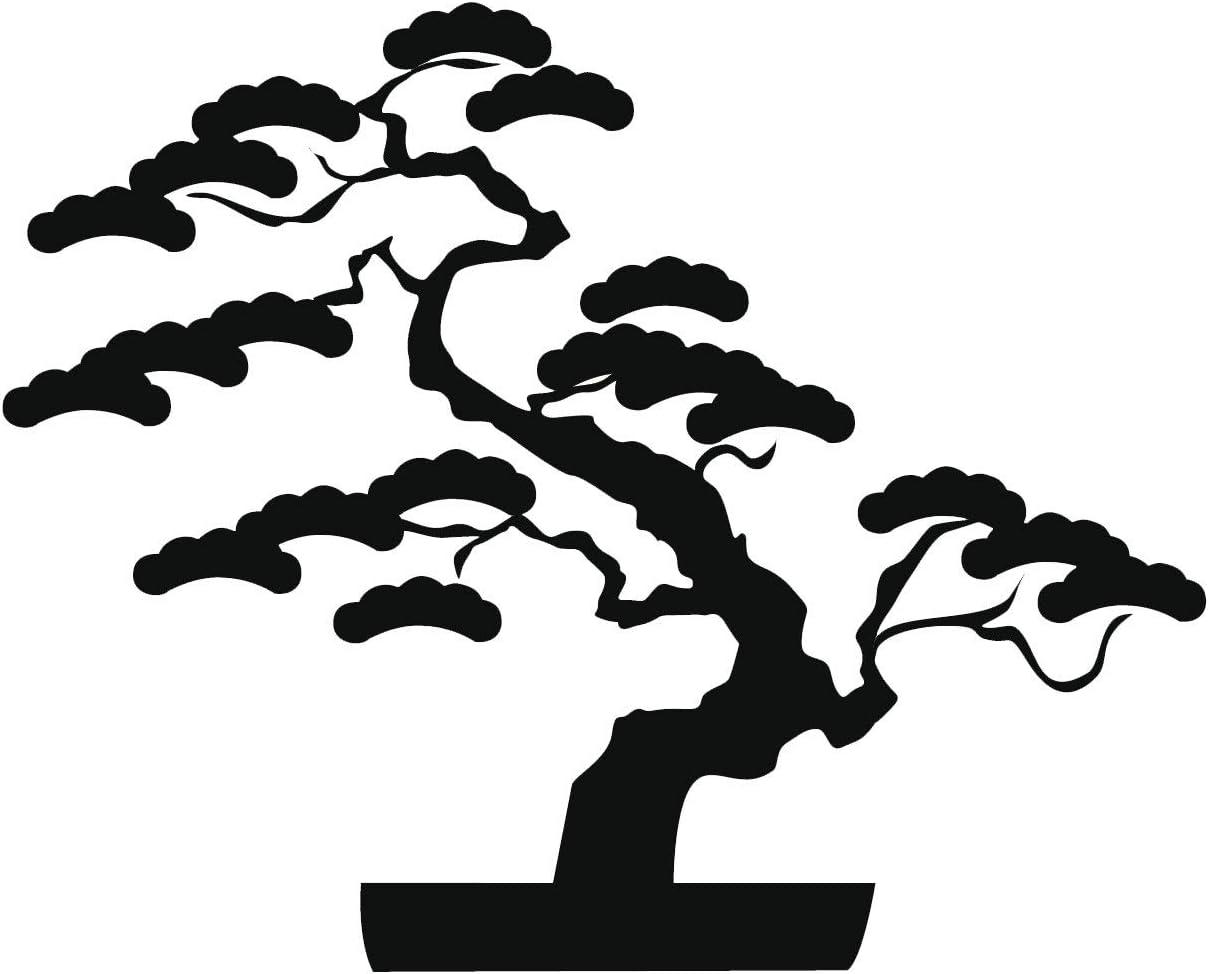 Amazon Com Ew Designs Black Bonsai Tree Vinyl Decal Bumper Sticker 4 Wide Automotive